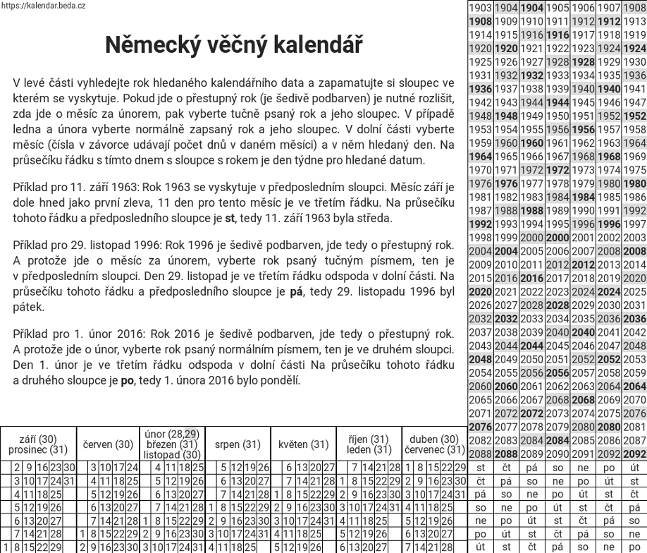 vecny kalendar cz Německý věčný kalendář vecny kalendar cz